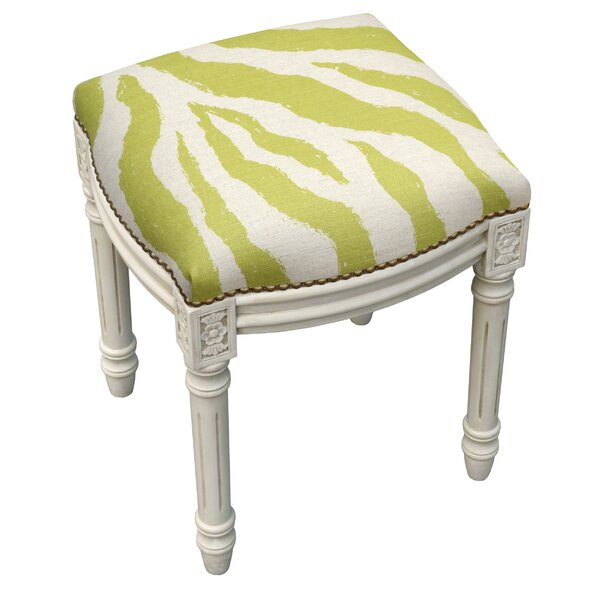 Zebra Stripes Linen Upholstered Vanity Stool with Nailhead by 123 Creations