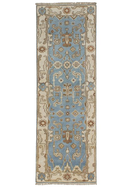 One-of-a-Kind Doggett Hand Knotted Wool Light Blue Indoor Area Rug by Isabelline