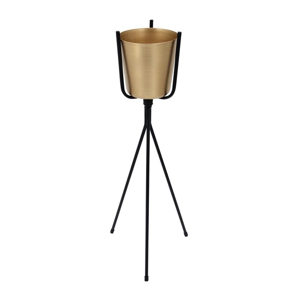 Agin Metal Pot Planter on Stand by Wrought Studio