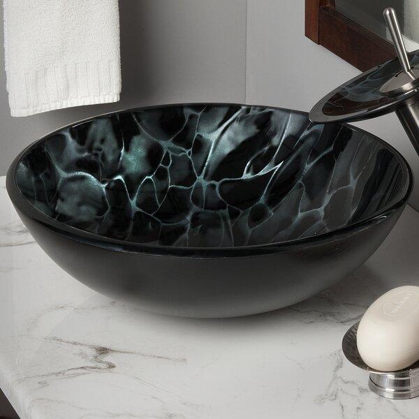 Tartaruga Glass Circular Vessel Bathroom Sink by Novatto