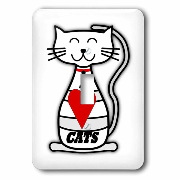 I Love Cats 1-Gang Toggle Light Switch Wall Plate by 3dRose
