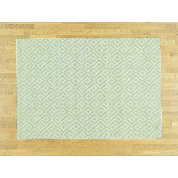 One-of-a-Kind Bertina Reversible Handmade Kilim Green Wool Area Rug by Isabelline