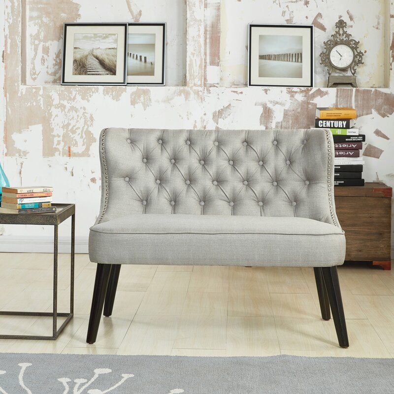 default_name - Willa Arlo Interiors Aguayo Tufted Wing Back Settee Bench