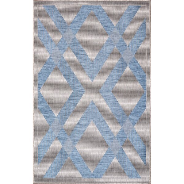 Stenberg Light Gray/Blue Indoor/Outdoor Area Rug by Wrought Studio