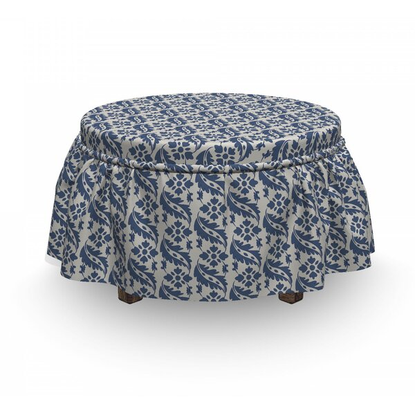 Antique Motifs Leaves Ottoman Slipcover (Set Of 2) By East Urban Home