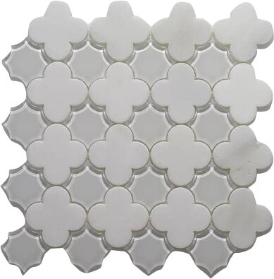 Wall Frosted and Polished 12 x 12 Arabescato and Glass Mosaic Tile in White by Seven Seas