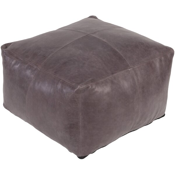 Brower Leather Pouf by Trule Teen