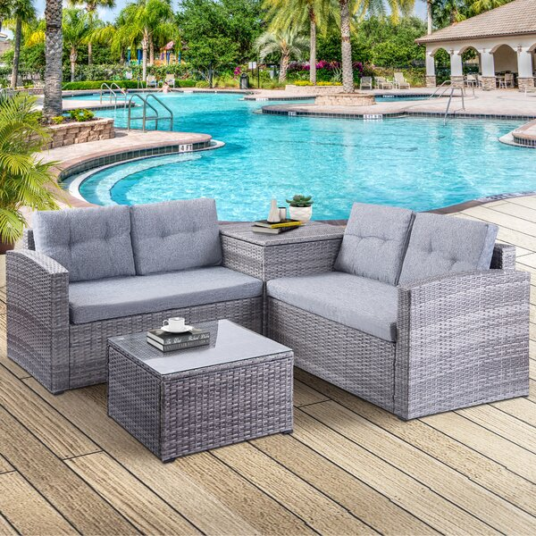 Addisyn 4 Piece Rattan Sofa Seating Group with Cushions by Wrought Studio