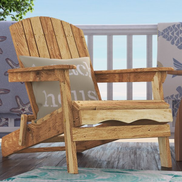 Surrey Wood Adirondack Chair with Ottoman by Beachcrest Home