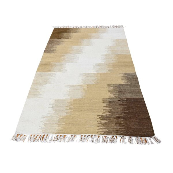 One-of-a-Kind Espalda Flat Weave Kilim Oriental Hand-Knotted Brown Area Rug by Millwood Pines