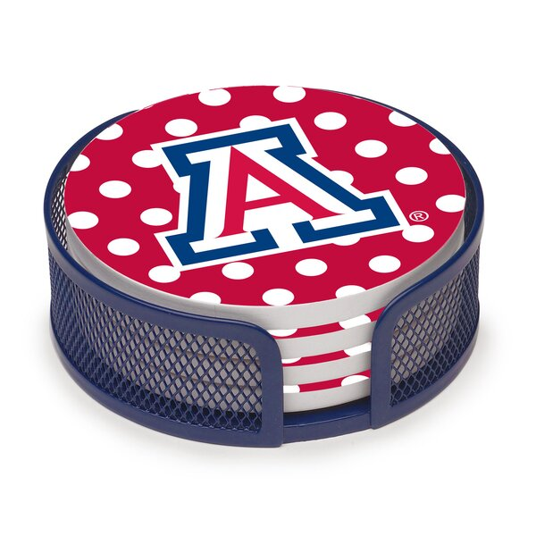 5 Piece University of Arizona Dots Collegiate Coaster Gift Set by Thirstystone