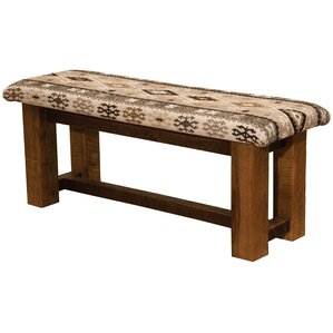 Barnwood Upholstered Bench by Fireside Lodge
