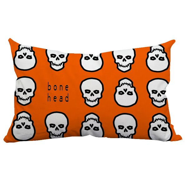 Holiday Treasures Mr. Bone Head Textual Indoor/Outdoor Lumbar Pillow by Positively Home