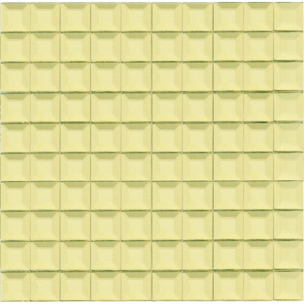 Grid Mirror 1 x 1 Glass Tile in Gold by Multile