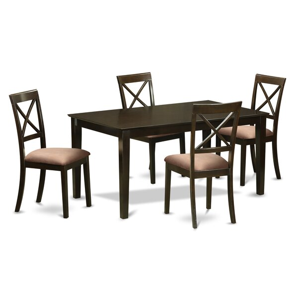 Smyrna Microfiber Upholstery 5 Piece Dining Set by Charlton Home
