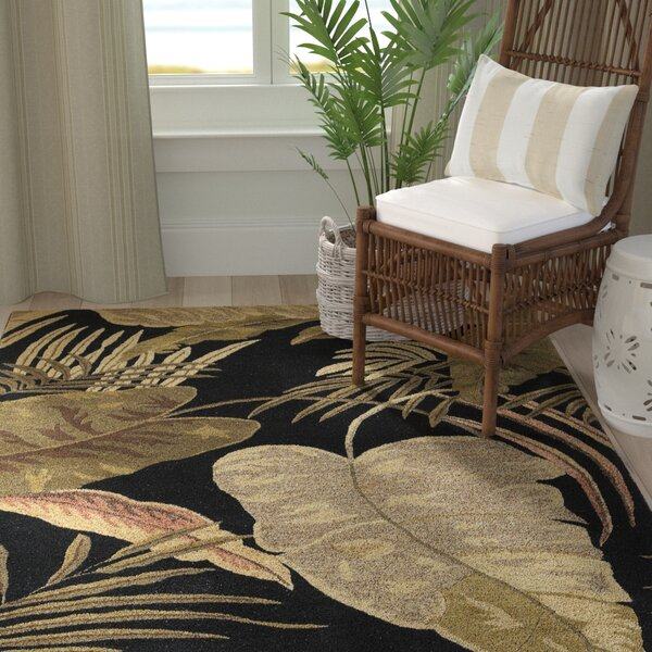 Delview Rainforest Midnight Brown/Tan Plants Area Rug by Bay Isle Home