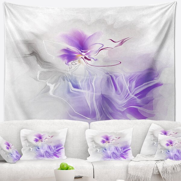 Abstract Painted Blue Floral Design Tapestry and Wall Hanging by East Urban Home