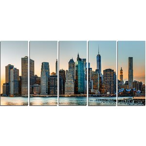 New York City Skyline 5 Piece Photographic Print on Wrapped Canvas Set by Design Art