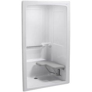 one piece corner shower stall. Freewill 52  x 38 1 2 84 Barrier Free One Piece Corner Shower Stall Wayfair