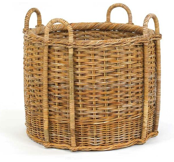 French Country Fireplace Rattan Log Carrier by Mainly Baskets