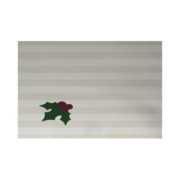 Holly Tones Decorative Holiday Stripe Print Ivory Cream Indoor/Outdoor Area Rug by The Holiday Aisle