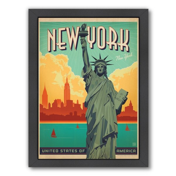 New York City Liberty Framed Vintage Advertisement by East Urban Home