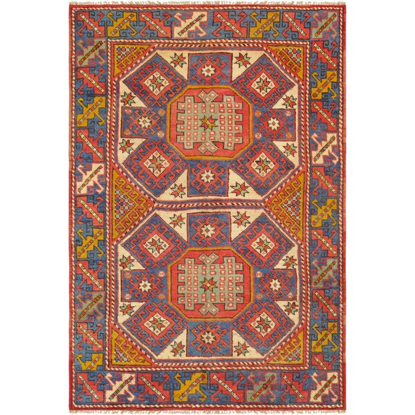 Kazak Hand Woven Wool Red/Blue Area Rug by Pasargad