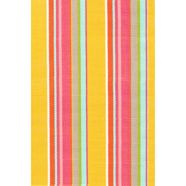Hand Woven Yellow/Pink Indoor/Outdoor Area Rug by Dash and Albert Rugs
