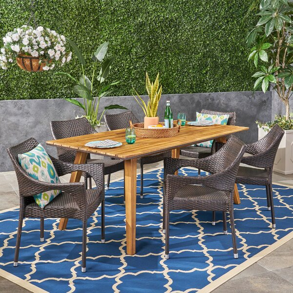 Montagu 7 Piece Teak Dining Set by Bungalow Rose