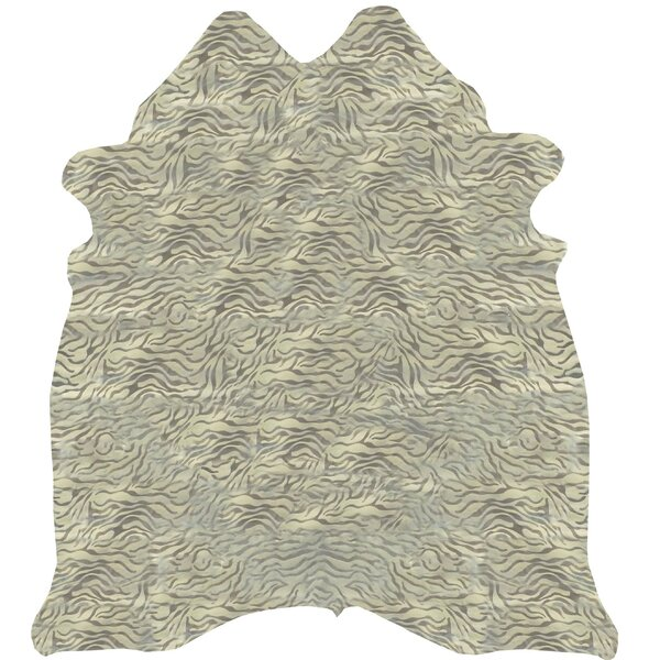 Maeve Stenciled Baby Zebra Cowhide Metallic Silver Area Rug