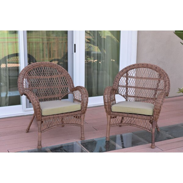 Wicker Chair with Cushions (Set of 2) by Jeco Inc.