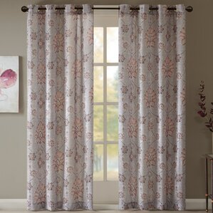 leandre textured damask semiopaque grommet single curtain panel
