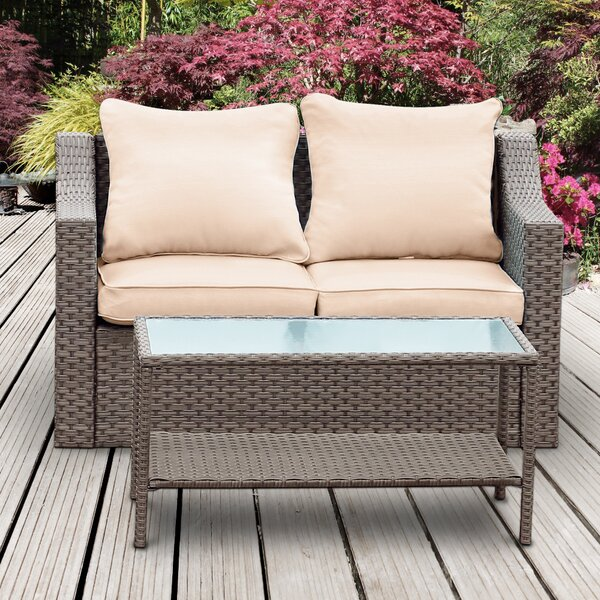 Vallecito 2 Piece Rattan Seating Group with Cushions by Ebern Designs