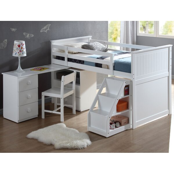 Mitch Twin Loft Bed with Drawers and Shelves by Harriet Bee
