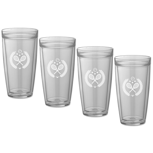 Keeter Tennis 22 Oz. Crystal Every Day Glass (Set of 4) by Charlton Home