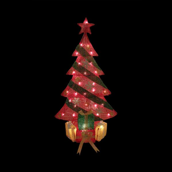 Lighted Tinsel Decorated Christmas Tree with Gifts Yard Art Decoration by Northlight Seasonal