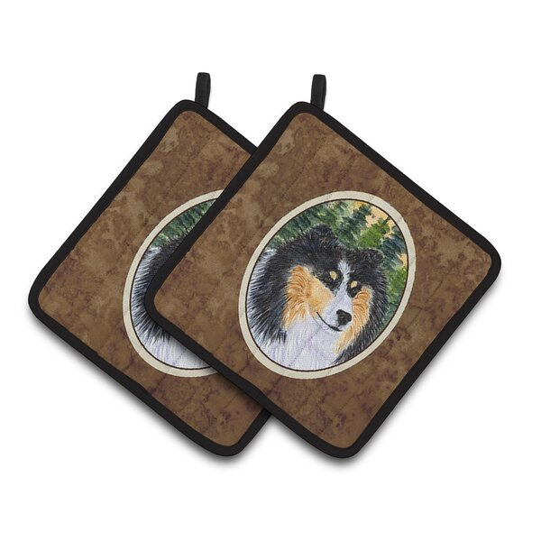 Sheltie Potholder (Set of 2) by East Urban Home