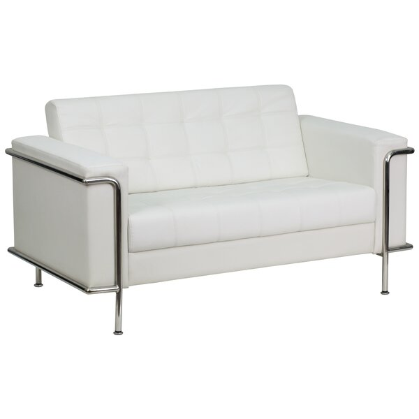 Myron Contemporary Leather Loveseat