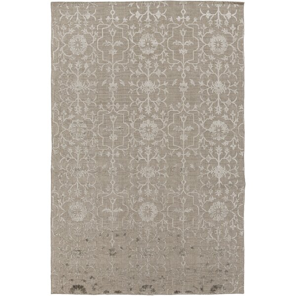Anwen Hand-Knotted Taupe/Camel Area Rug by Ophelia & Co.