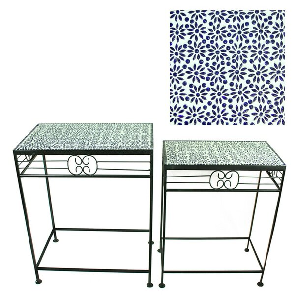 Galasso Mosaic 2 Piece Metal Planter Stand by Bungalow Rose