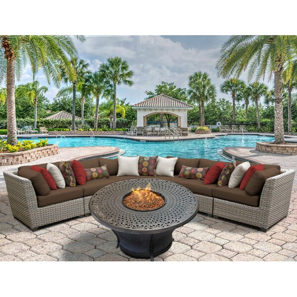 Florence 6 Piece Rattan Sectional Seating Group with Cushions by TK Classics