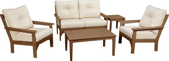 Vineyard 5 Piece Sunbrella Sofa Set with Cushions by POLYWOOD®
