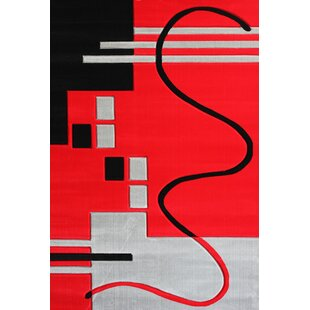 Affordable Vanderbilt Machine woven Polypropylene Red/Black Area Rug By Orren Ellis
