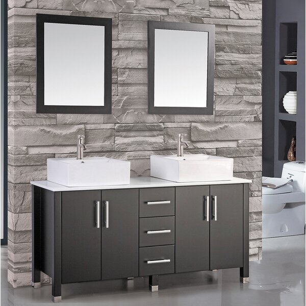Laroche 60 Double Bathroom Vanity Set with Mirror by Latitude Run