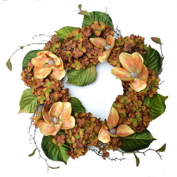 Hydrangea and Magnolia Designer Wreath by Floral Home Decor