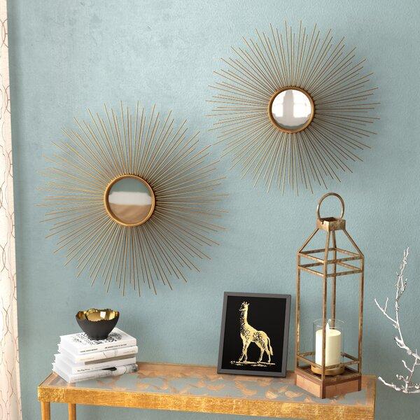 Melora Sunburst Round Metal Wall Mirror (Set of 2)