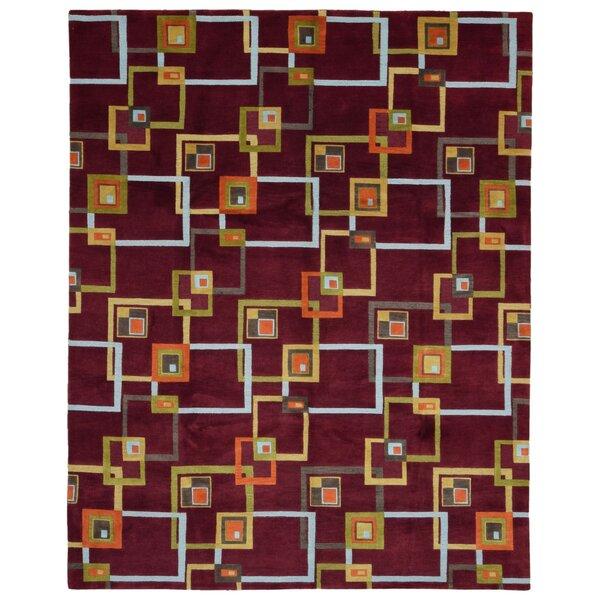 One-of-a-Kind Angelique Modern Design Oriental Hand Woven Wool Maroon/Orange Area Rug by Corrigan Studio