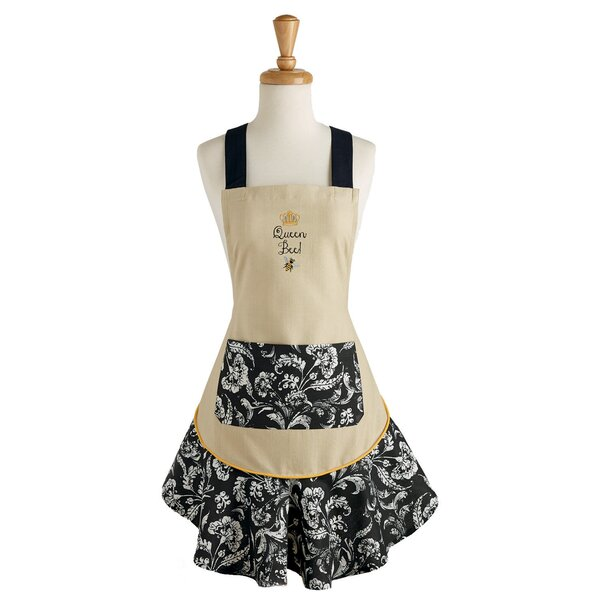 Honey Bee Queen Embroidered Ruffle Apron by Design Imports