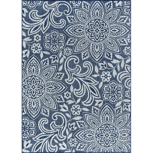 Koby Transitional Floral Navy/Cream Indoor/Outdoor Area Rug by Red Barrel Studio