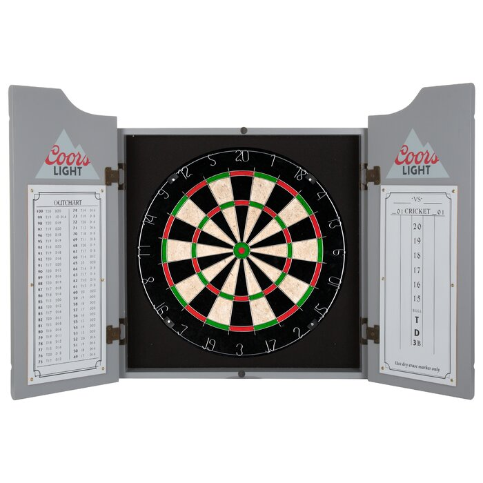 Coors Light Dartboard Cabinet Set